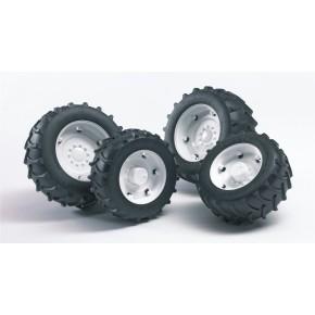 Bruder - Tvillingehjul m. hvide fælge (1:16)