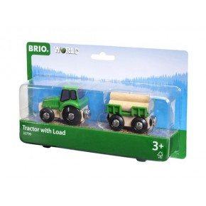 BRIO World - Traktor m. Vogn og Tømmer - 33799