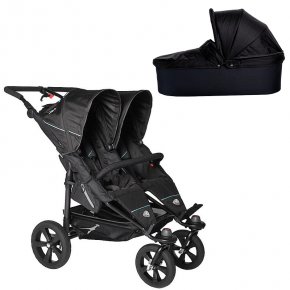 TFK Twin Trail Klapvogn Sort + Twin Carrycot Sort