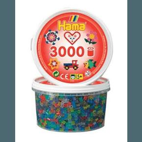 Hama midi perler bæger 3000 stk transparent