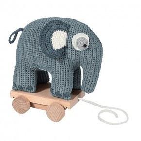 Sebra Hæklet elefant på hjul - Cloud Blue