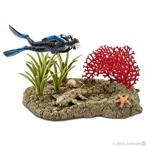 Schleich - Koralrævsdykker m. haj