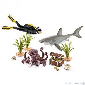Schleich - Dykker m. skatte og dyr