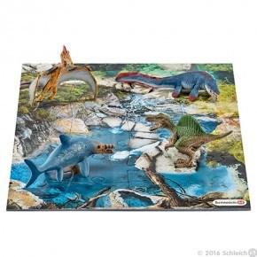 Schleich - Mini dinosaurer m. vandhulspuslespil