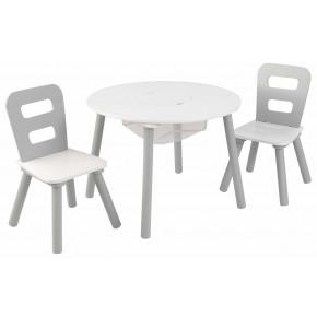 Kidkraft Rundt bord og stole - Hvid/Grå