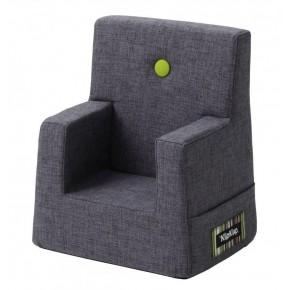 By KlipKlap Kids Chair XL - Blågrå m Grøn Knap DEMO