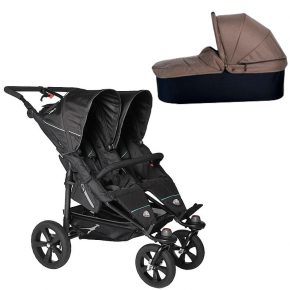 TFK Twin Trail Klapvogn Sort + Twin Carrycot Brun