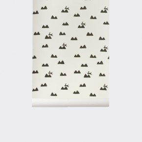 Ferm Living Rabbit Wallpaper - Tapet - Off-white