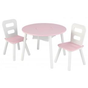 Kidkraft Rundt bord og 2 stole - Lyserød/Hvid