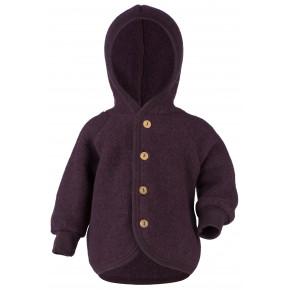 Engel jakke i uldfleece med hætte str. 74/80 - lilla melange