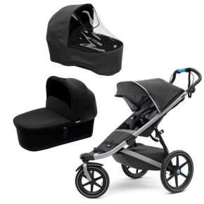 Thule Urban Glide 2 Klapvogn Dark Shadow + Bassinet Sort og Regnslag