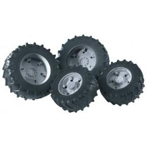 Bruder - Tvillingehjul m. grå fælge (1:16)