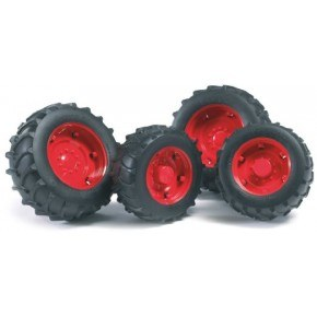 Bruder - Tvillingehjul m. røde fælge (1:16)