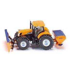 Siku Traktor med pløjning plade og saltspreder