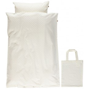 Småfolk - Baby sengetøj micro æbler - Cream