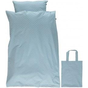 Småfolk Voksen sengetøj med micro æbler - Stone Blue