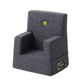 By KlipKlap Kids Chair - Blågrå m Grøn Knap