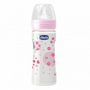 Chicco - Wellbeing flaske 250 ml. rosa m/latex