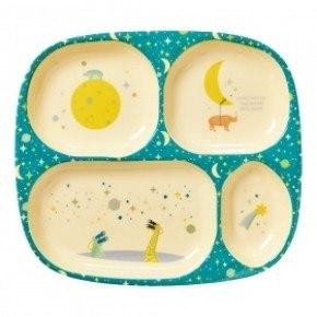 Rice tallerken 4 rum - Universe print - Blå