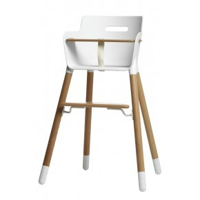 Flexa Baby Højstol m. bøjle og T-sele - Hvid/Træ