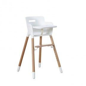 Flexa Baby Højstol m. bakkebord og sele - Hvid/Træ