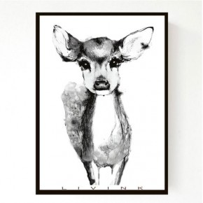 Livink Poster 50 x 70 cm u. ramme - Black Bambi