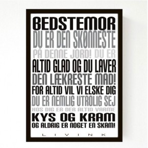 Livink Poster A4 u.ramme - Bedstemor