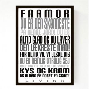 Livink Poster A4 u.ramme - Farmor