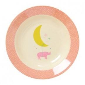 Rice Dyb melamin tallerken - Universe Print - Soft Pink