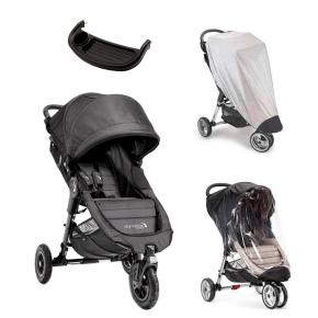Baby Jogger City Mini GT Charcoal Denim + Regnslag, Insektnet og Bakkebord