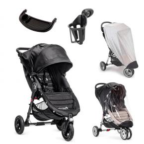 Baby Jogger City Mini GT - Sort + Regnslag, Insektnet, Bakkebord og Kopholder