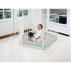Baby Dan Kravlegård med grey denim underlag - Hvid