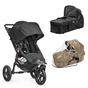 Baby Jogger City Elite - Sort + Kompakt Pram og Regnslag til Pram