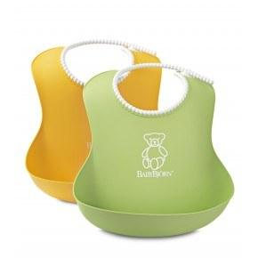 Babybjörn 2-pak hagesmæk blød - grøn/gul