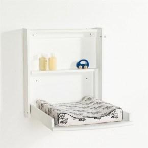 Babytrold væghængt puslebord med pusleunderlag - Hvid