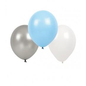 JaBaDaBaDo Ballon 9 stk. - Lyseblå, hvid og grå