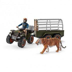 Schleich firhjulstrækker med trailer og plastfigur
