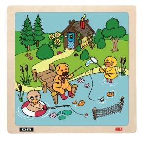Bamse og Kylling på fisketur træpuslespil - DR