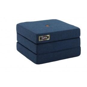 By KlipKlap Madras 3 fold single - Mørk blå m. orange knapper