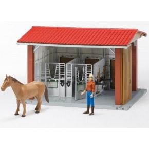 Bruder - Hestestald med rytter, hest + tilbehør
