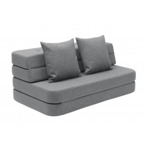 By KlipKlap KK 3 Fold Sofa - Blågrå m Grå Knapper
