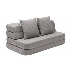 KK 3 fold sofa (120 cm) Multi grey w grey buttons Madras