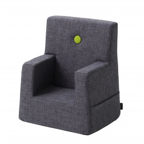 By KlipKlap Kids Chair XL - Blågrå m Grøn Knap