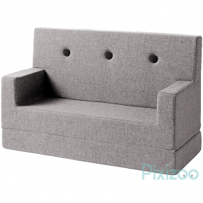 By KlipKlap KK Kids sofa - Multigrå m. grå knapper