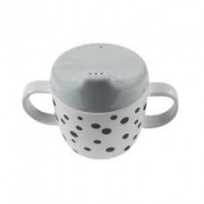 Done By Deer Dots 2 Handle Spout Cup Happy Dots - grå