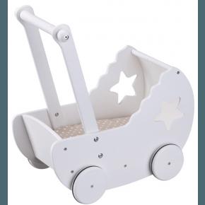Kids Concept dukkevogn med sengelinned - Hvid/beige