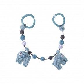 Sebra Hæklet barnevognskæde, Elefant - Himmelblå