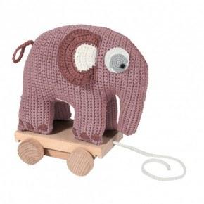 Sebra Hæklet elefant på hjul - Vintage rosa