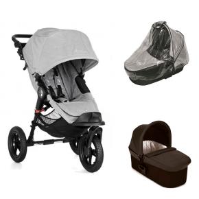 Baby Jogger City Elite - Slate + Charcoal Denim Deluxe Pram og Regnslag til Pram