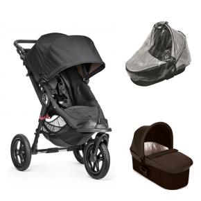 Baby Jogger City Elite - Sort + Charcoal Denim Deluxe Pram og Regnslag til Pram